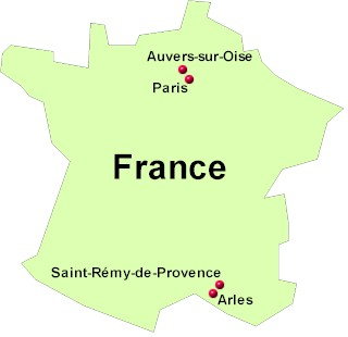 Map Of France With Paris.Vincent Van Gogh Map Of Locations Where The Artist Lived France