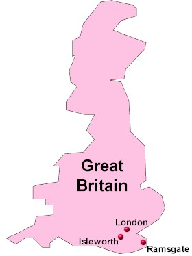 London Great Britain Map.Vincent Van Gogh Map Of Locations Where The Artist Lived England