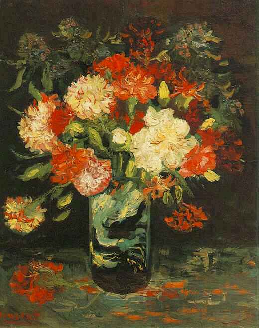 Vincent Van Gogh The Paintings Vase With Carnations