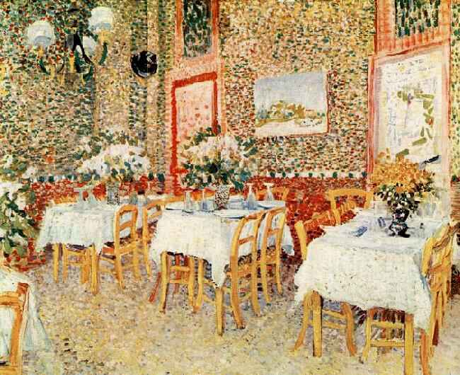 Vincent van gogh the paintings interior of a restaurant for Diner painting