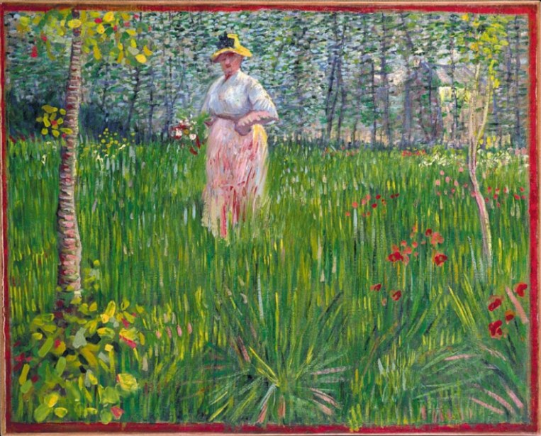 Vincent van gogh the paintings a woman walking in a garden for Jardin a auvers van gogh