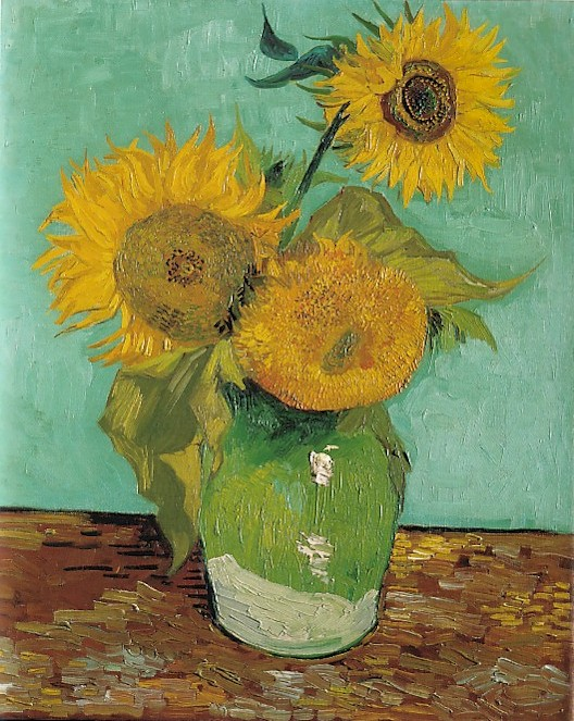 Vincent van Gogh: The Paintings (Three Sunflowers in a Vase) on pablo picasso flower paintings, flowers art paintings, beach scene paintings, flowers in glass paintings, flowers in spring paintings, flowers in teapot, white flower paintings, roses paintings, textured flower paintings, lily paintings, vases with flowers still life paintings, flowers in pot paintings, flowers in architecture, flowers in a basket paintings, bouquet of flowers paintings, chair paintings, orchids paintings, floral paintings, flowers at night paintings, flowers in garden paintings,