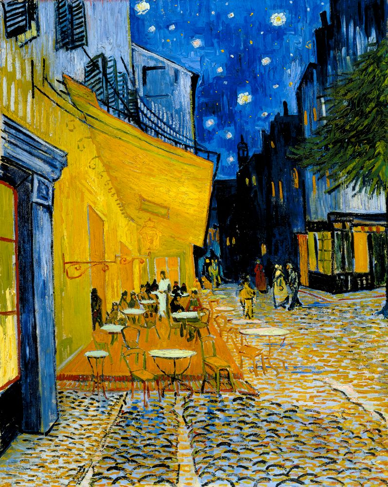vincent van gogh night cafe Vincent van gogh's cafe terrace at night (also known as the cafe terrace on the place du forum) was created in arles, france at a local coffee house in 1888.