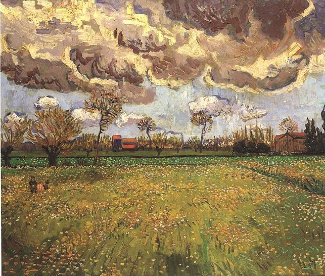 Vincent van gogh the paintings landscape under a stormy sky for Mural van gogh