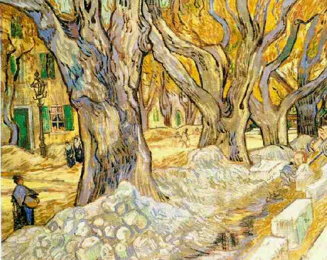 Vincent van gogh the paintings the road menders for Mural van gogh